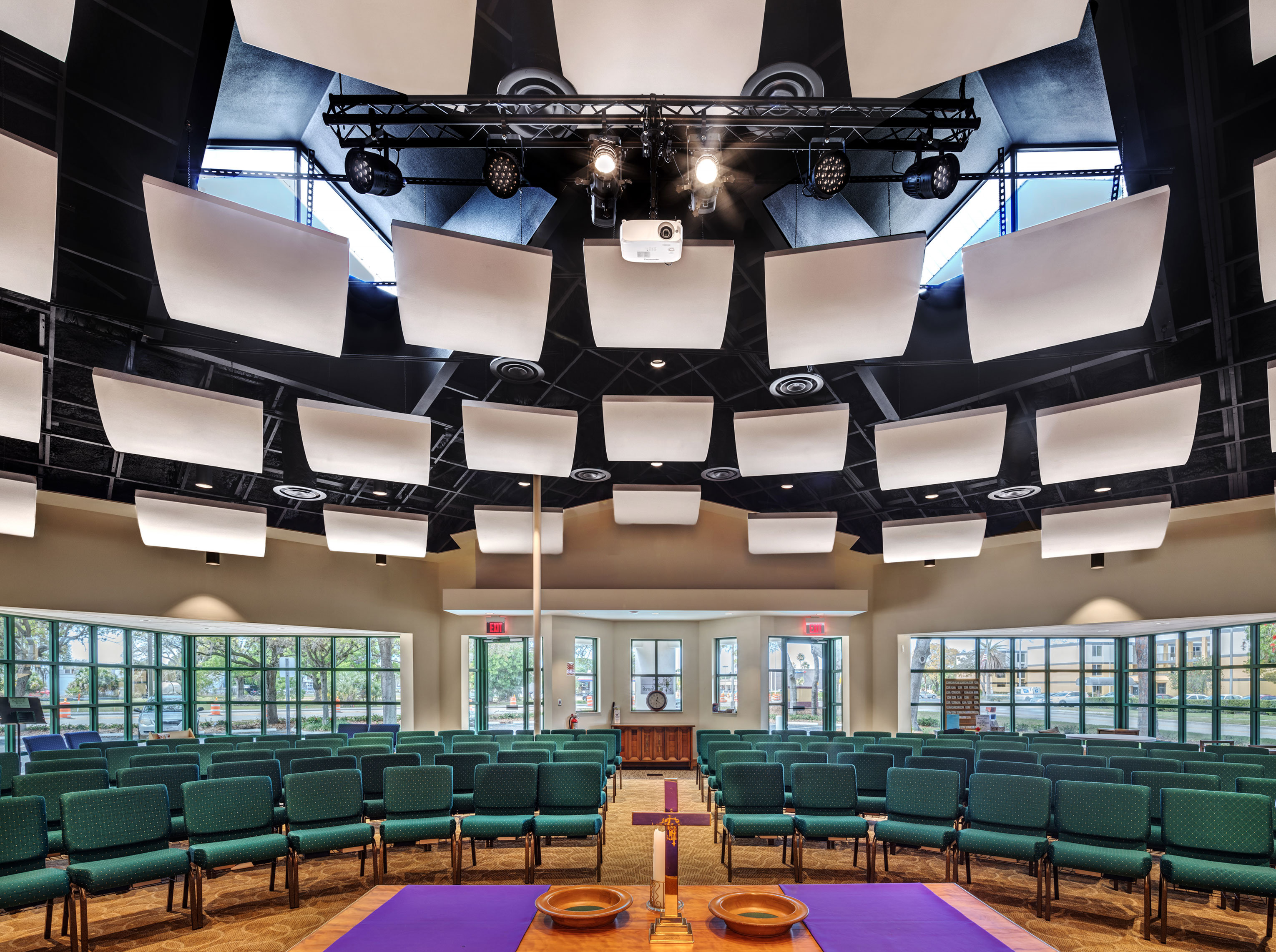 Fiberglass Panels - Ceiling Clouds acoustic treatments. Shown here suspended with T-Grid